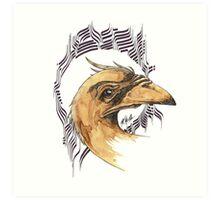 bird of paradice - coffee and ink - Art Print