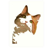 I'm All Ears - Cute Calico Cat Portrait Art Print