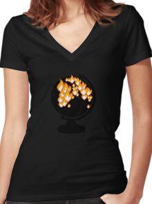 We burned it. Women's Fitted V-Neck T-Shirt