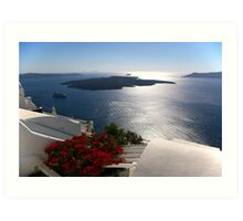 Santorini cruise liner and volcano Art Print