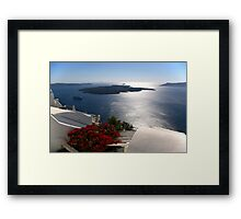 Santorini cruise liner and volcano Framed Print