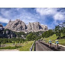Cycling on a mountain road Photographic Print