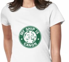 Starbucks/My Ship Is Canon- Destiel Womens Fitted T-Shirt