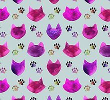 Watercolor Cat Heads - shades of pink & purple on pale blue  by Perrin Le Feuvre