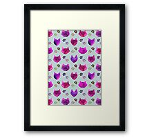 Watercolor Cat Heads - shades of pink & purple on pale blue  Framed Print