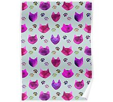 Watercolor Cat Heads - shades of pink & purple on pale blue  Poster