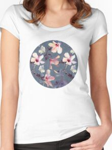 Butterflies and Hibiscus Flowers - a painted pattern Women's Fitted Scoop T-Shirt