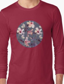 Butterflies and Hibiscus Flowers - a painted pattern Long Sleeve T-Shirt