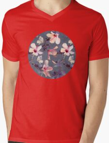 Butterflies and Hibiscus Flowers - a painted pattern Mens V-Neck T-Shirt