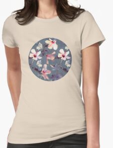 Butterflies and Hibiscus Flowers - a painted pattern Womens Fitted T-Shirt