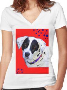 black & white dog Women's Fitted V-Neck T-Shirt