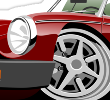 MG MGB 'rubber bumper' caricature dark red Sticker