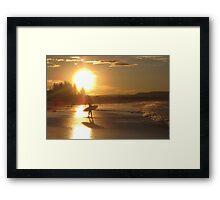 Byron Bay Sunset Surf Australia Framed Print