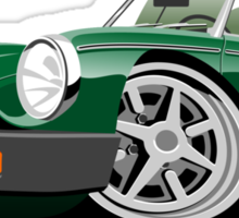 MG MGB 'rubber bumper' caricature green Sticker
