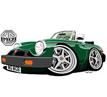 MG MGB 'rubber bumper' caricature green Photographic Print