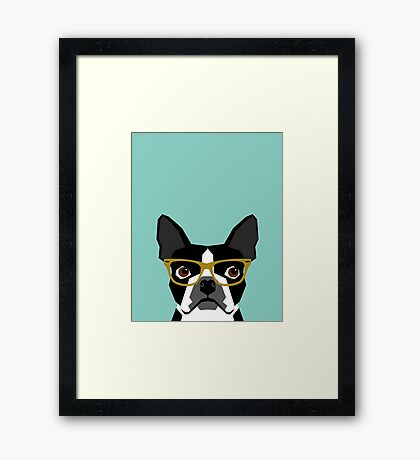 Darby - Boston Terrier pet design with hipster glasses in bold and modern colors for pet lovers Framed Print