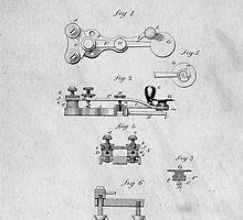 Telegraph Key Patent Art by Edward Fielding