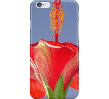 Tropical Red Hibiscus Flower Against Blue Sky iPhone Case/Skin