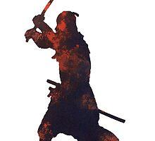 Samurai warrior silhouette art print watercolor painting. by Joanna Szmerdt