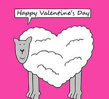 Happy Valentine's Day talking sheep on pink background. by KateTaylor