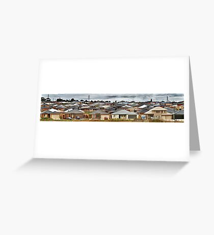 """Little boxes on the hillside, little boxes made of ticky tacky"" Greeting Card"