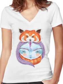 Huriyah & Red Panda Women's Fitted V-Neck T-Shirt