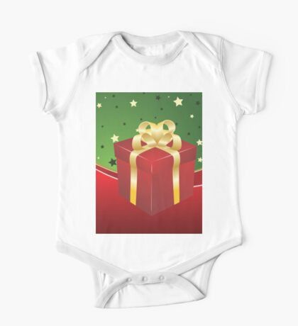 Red gift box with golden bow  One Piece - Short Sleeve