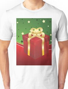 Red gift box with golden bow  Unisex T-Shirt
