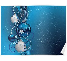 Blue Christmas balls 2 Poster