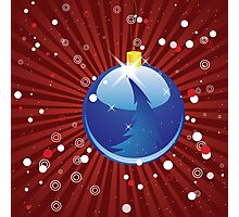 Blue Christmas ball on red background Photographic Print