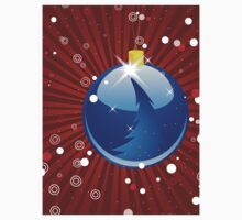 Blue Christmas ball on red background Kids Clothes