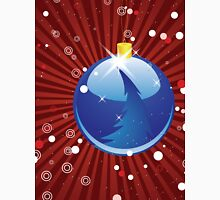 Blue Christmas ball on red background Unisex T-Shirt