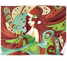 Santa girl in green corset Poster