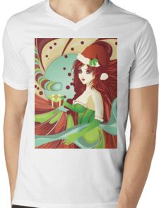 Santa girl in green corset Mens V-Neck T-Shirt