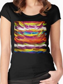 Vivid Color Paint Splatter Brush Stroke Women's Fitted Scoop T-Shirt
