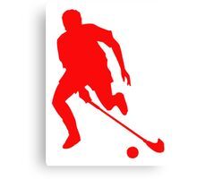 Red Field Hockey Player Silhouette Canvas Print
