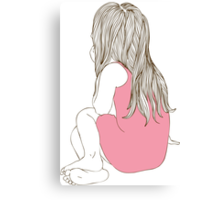 Little girl in a pink dress sitting back hair Canvas Print