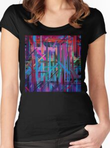 Abstract Paint Color Splatter Brush Stroke #3 Women's Fitted Scoop T-Shirt