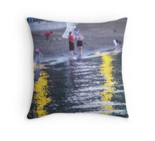 Lake George Beach Scene Throw Pillow