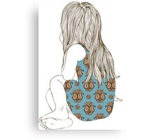 Little girl in a dress sitting back hair Canvas Print