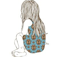 Little girl in a dress sitting back hair Photographic Print