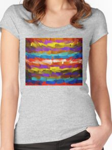 Abstract Paint Color Splatter Brush Stroke #4 Women's Fitted Scoop T-Shirt