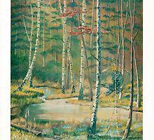 Deep Woods - Owl Hunting - Acrylics on Canvas by Gordon Pegler