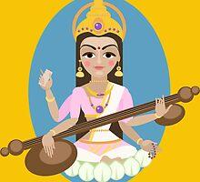 Hindu Goddess Saraswati. Vector hand drawn illustration. by OlgaBerlet