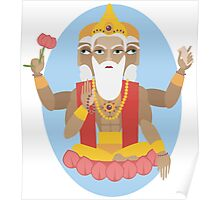 illustration of Hindu deity lord Brahma Poster
