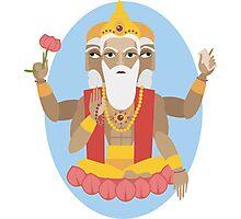 illustration of Hindu deity lord Brahma Photographic Print