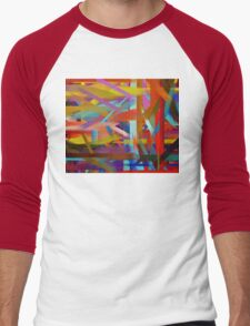 Paint Color Splatter Brush Stroke #6 Men's Baseball ¾ T-Shirt