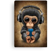 Chimpanzee Dj with Headphones and Cell Phone Canvas Print