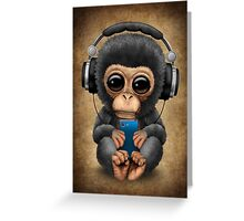 Chimpanzee Dj with Headphones and Cell Phone Greeting Card