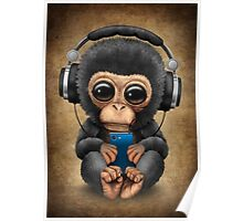 Chimpanzee Dj with Headphones and Cell Phone Poster